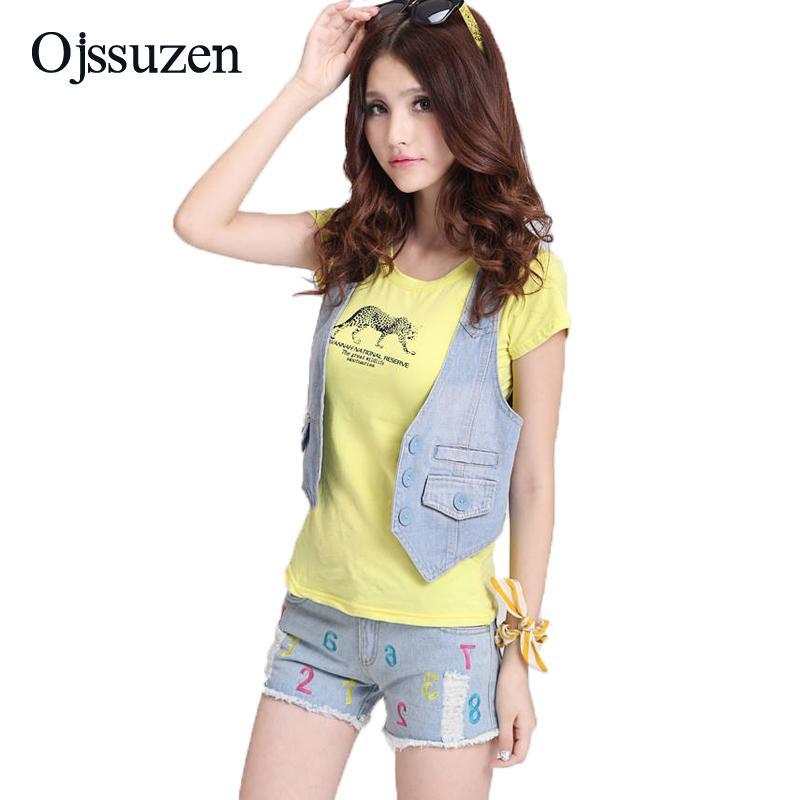 2bf8522b017ce0 2019 Summer Fashion Women Denim Vest Short Button Casual Vintage Sleeveless  Jeans Cropped Jacket Denim Waistcoat For Women From Yukime