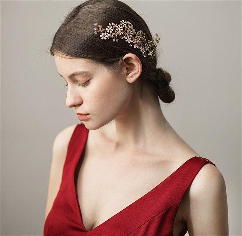 Acheter Vintage Mariage Mariee Fleur Cheveux Peigne Cristal Strass