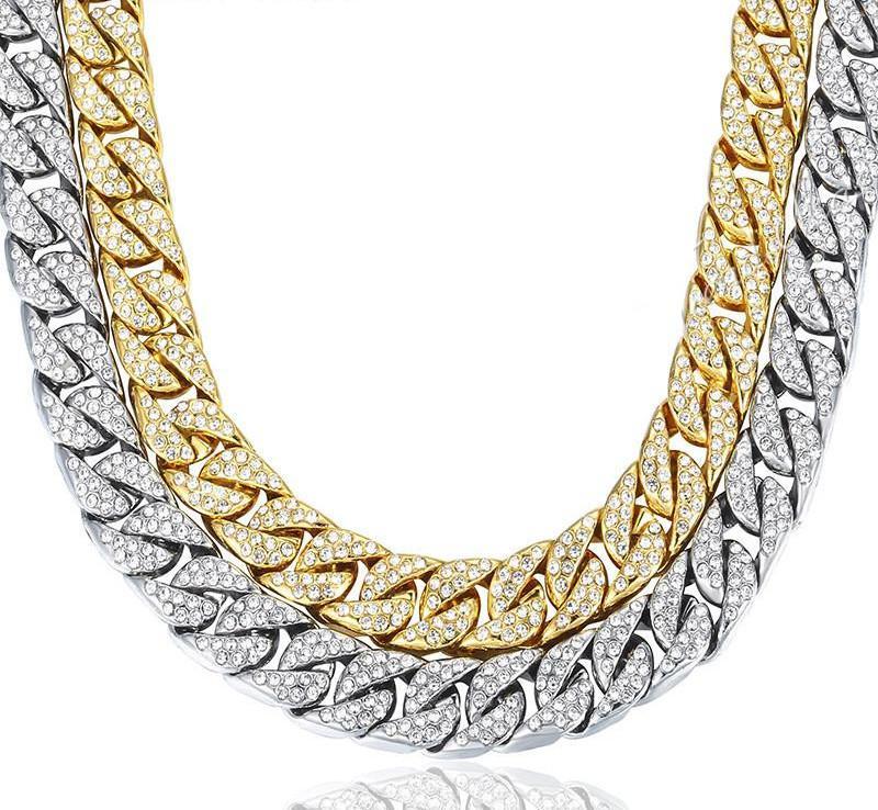 ecd8fdd133d0 Compre Hombres De Diseño De Moda Collares Gruesos 14 Mm Miami Bordillo  Cadena Cubana Collar De Lujo Oro Plata Hip Hop Collar Con Diamantes De  Imitación A ...