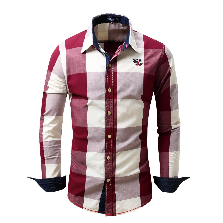 55ca99c895 Compre 2018 Nova Camisa Dos Homens 100% Algodão Camisa De Manga Longa Mens  Camisas De Vestido De Marca De Moda Casual Estilo De Negócios Camisas De ...
