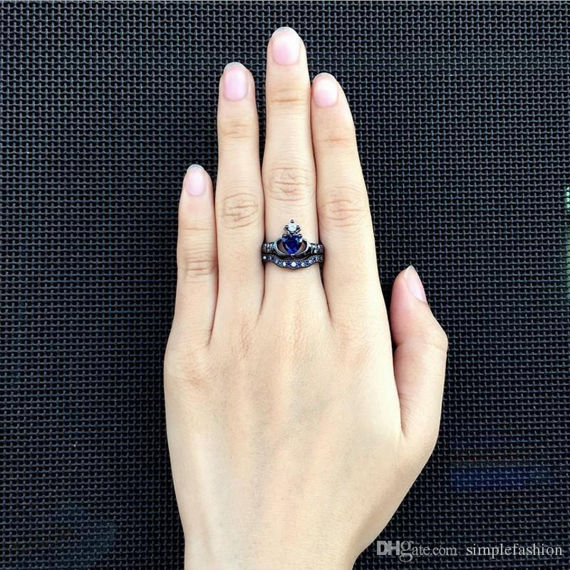 Vecalon Claddagh L'engagement des femmes de mariage Bague pierre bleue Zircon Cz 10KT or noir Rempli Birthstone ensembles nuptiaux