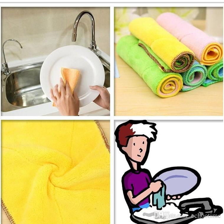 High Efficient Anti-grease Color Dish Cloth Microfiber Washing Towel Magic Kitchen Cleaning Wiping Rags Wholesale