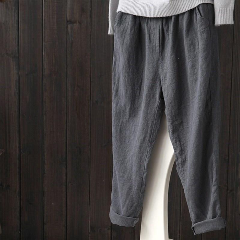 2a5c77eb2e9 ZANZEA 2018 Spring Women Casual Solid Cotton Linen Baggy Long Pants Vintage  Elastic Waist Turnip Pencil Trousers Harem Pantalon S18101606 Online with  ...
