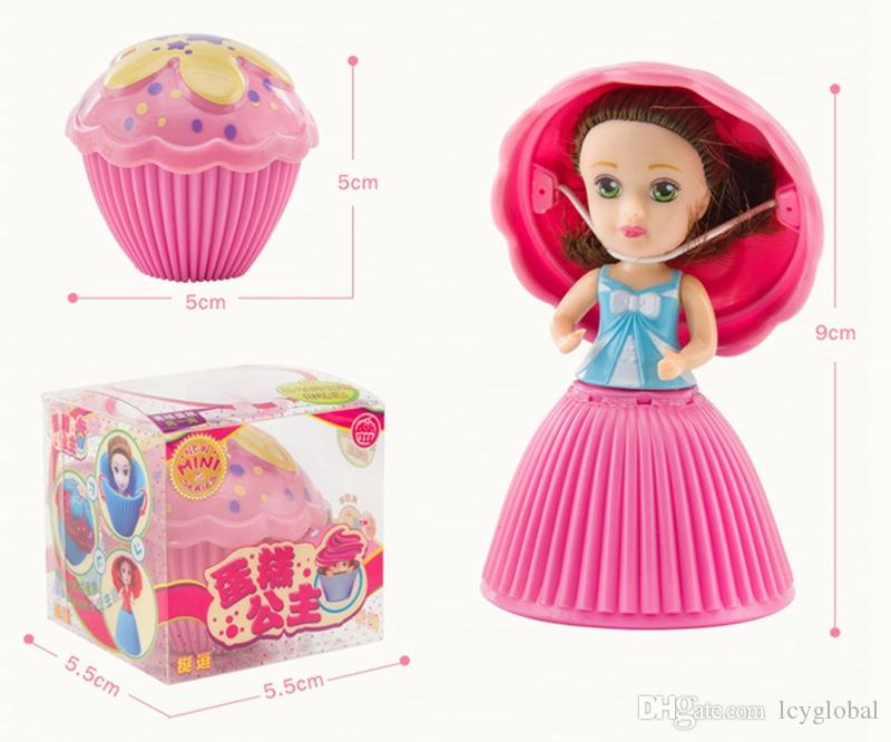 /box Magical 5cm mini Cupcake Scented Princess Doll Reversible Cake Transform to Mini Princess Doll with 6 Flavors