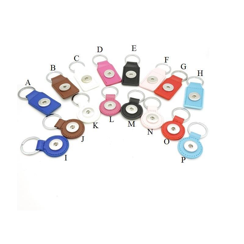16 옵션 Noosa Keyrings PU 가죽 스냅 버튼 키 체인 스냅 키 링 DIY 18MM Ginger Snap Jewelry