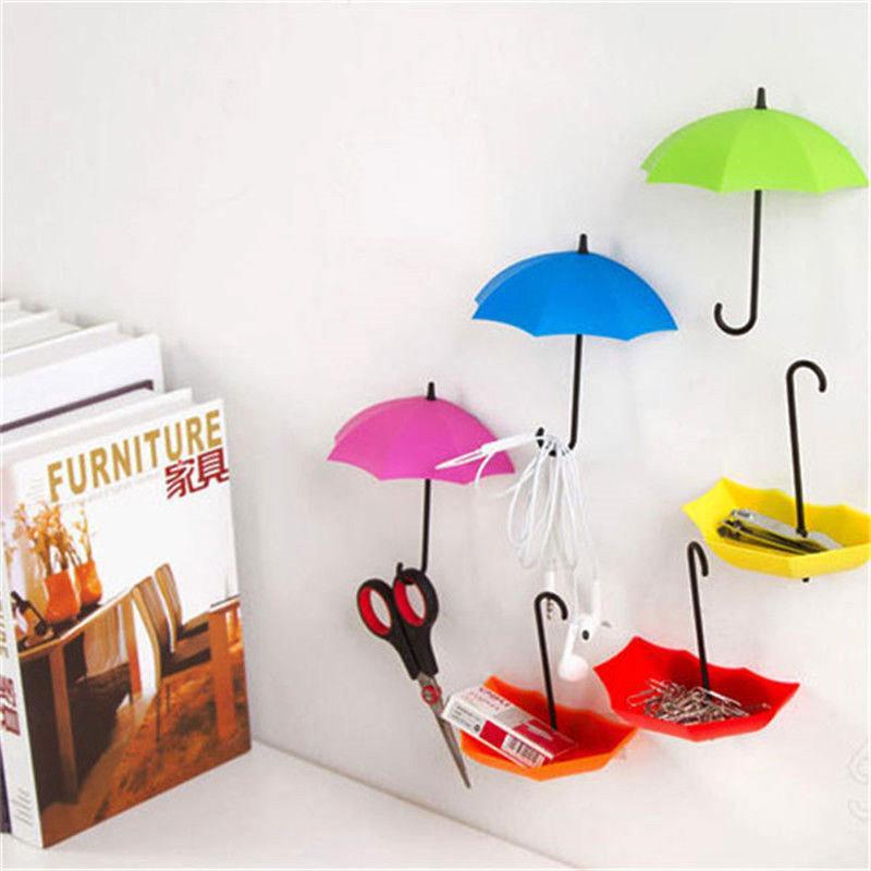 Creative Umbrella Shaped Creative Plastic Key Hanger Rack Decorative Holder Wall Hook For Kitchen Organizer Bathroom Accessories