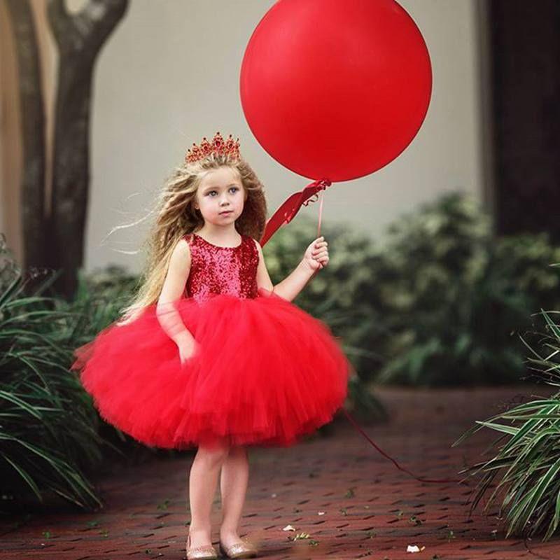 INS estate nuove ragazze paillettes garza tutu abito girocollo senza maniche in maglia vestito da partito bling tutu gonna principessa ragazze vestito da partito rosso rosa