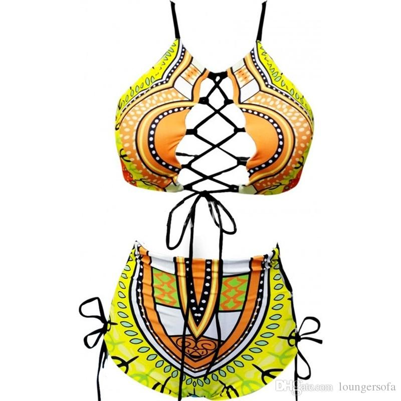 Woman Swimsuit Swimwear Lady Bikini Femme Two Piece Suits Sexy High Waist Frenulum Large Size Printing Bandage 25ym V