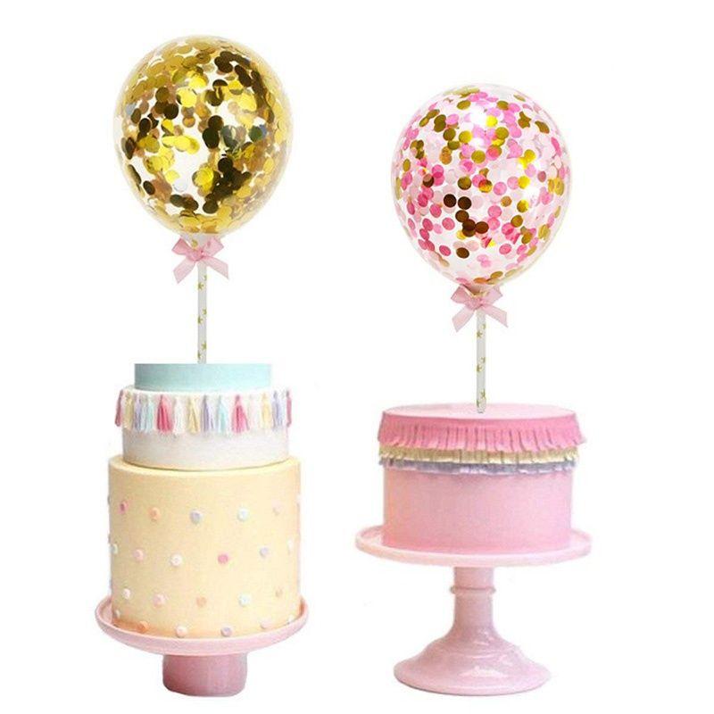 Grosshandel 5 Zoll Konfetti Ballon Kuchen Topper Dekoration Mit