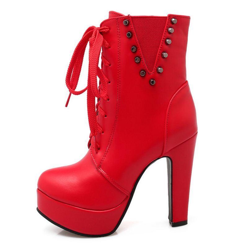 b78ad4146 Compre Zapatos De Mujer Botas De Tobillo Botas De Tobillo Plataforma De Tacón  Alto Piel De Cremallera Interior Color Sólido Moda Calzado Calzado Tamaño  33 ...
