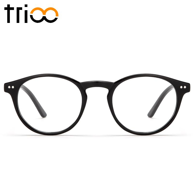 1720b30c7b 2019 TRIOO Retro Round Optical Glasses Frame Transparent Clear Lens  Eyeglasses Women Vintage Black Eyewear Spectacle Frames From Zaonoodle