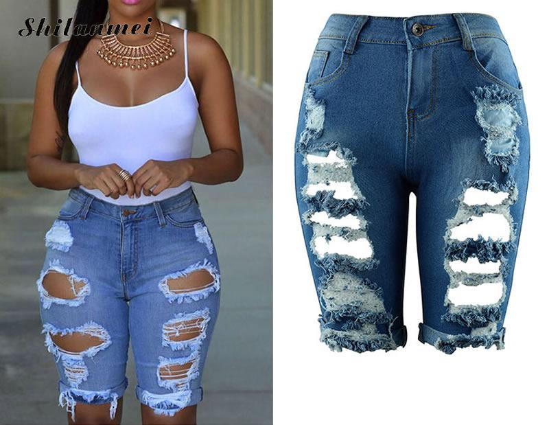 2017 Women Summer Ripped Solid Jeans Capris High Waist Cropped Trousers Stretch Casual Pants Female Slim Fashion Denim Capris
