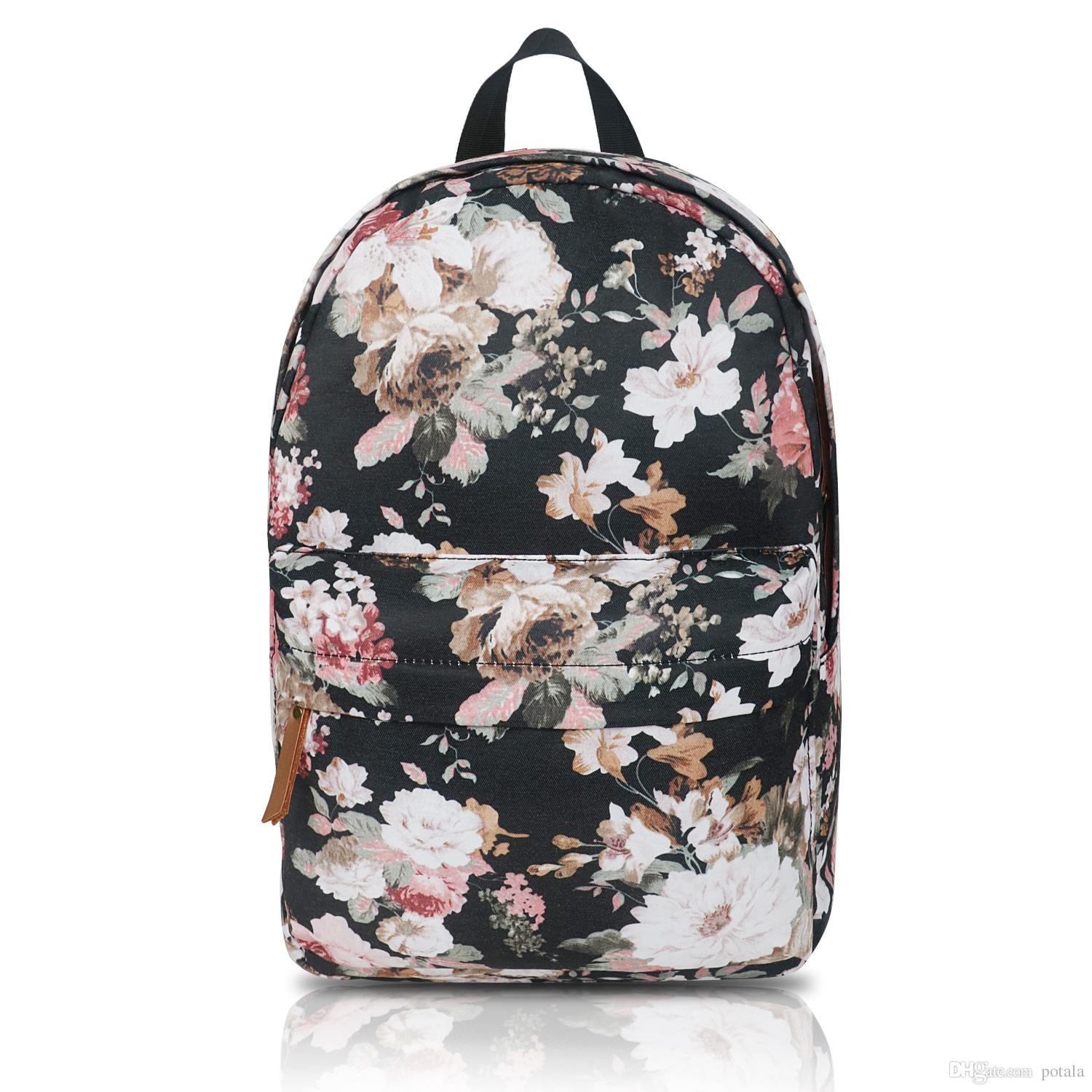 0991f4c00575 33*13.5*40CM Canva&Polyester School Bag rose forest Encrypted lining 16  Laptop Waterproof fabric School Backpack Daypacks Red big capactiy