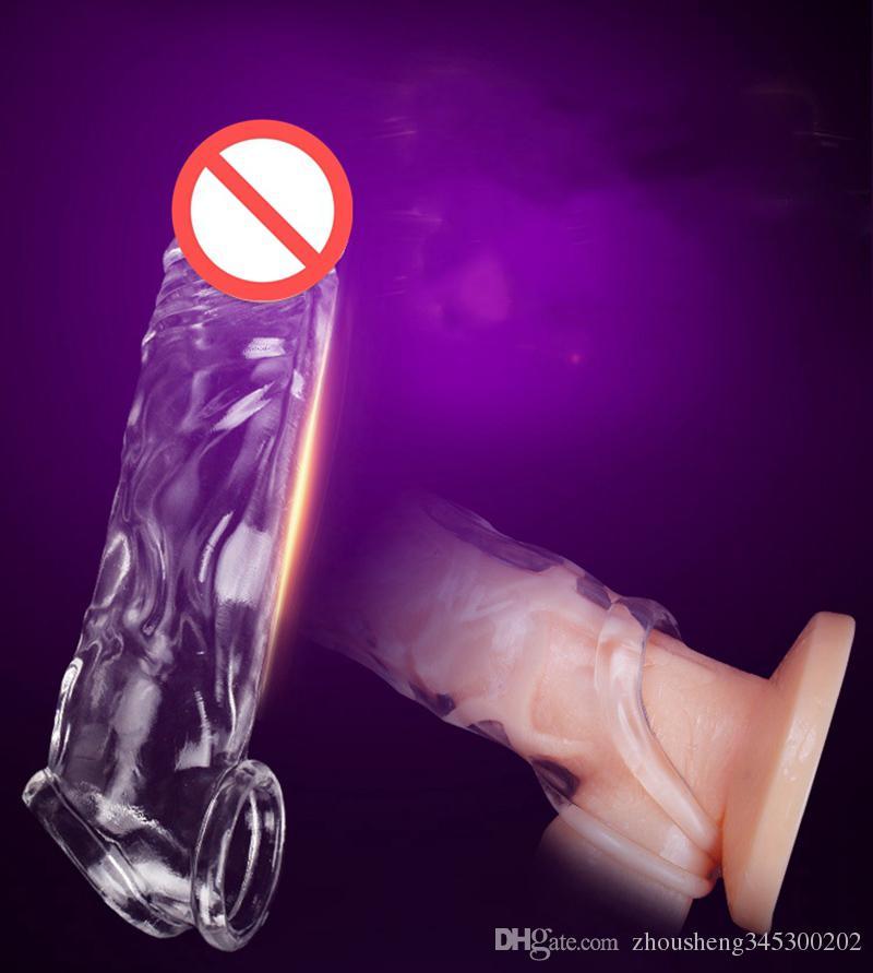 سيليكون القضيب cockring ثخن وإطالة غطاء الجنس لعب للرجال ذكر الاستمناء خاتم الديك دائم تأخير القذف دسار الموسع