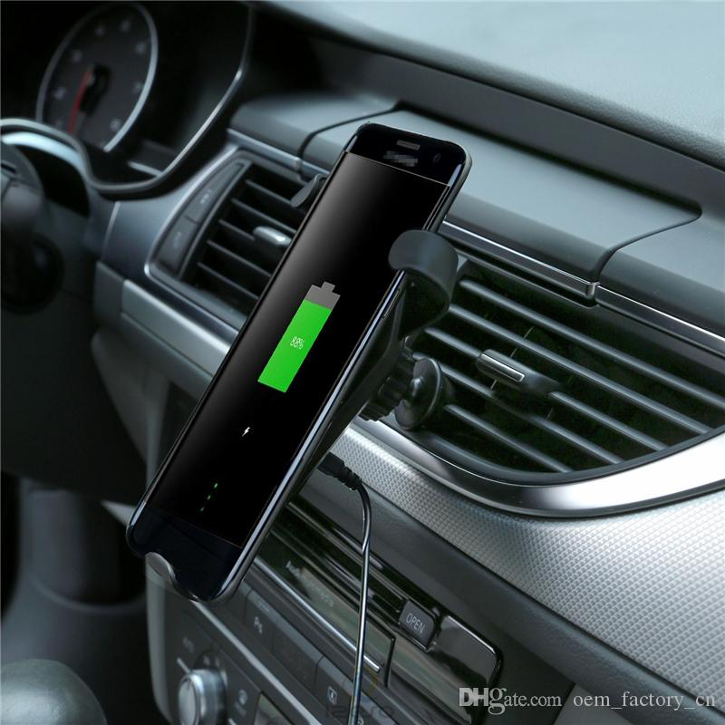 For iPhone 11 Fast Wireless Car Charger 9V Output Qi-enabled Charging Pad Phone Holder Clip for Samsung Note 10 Plus with Retail Packaging
