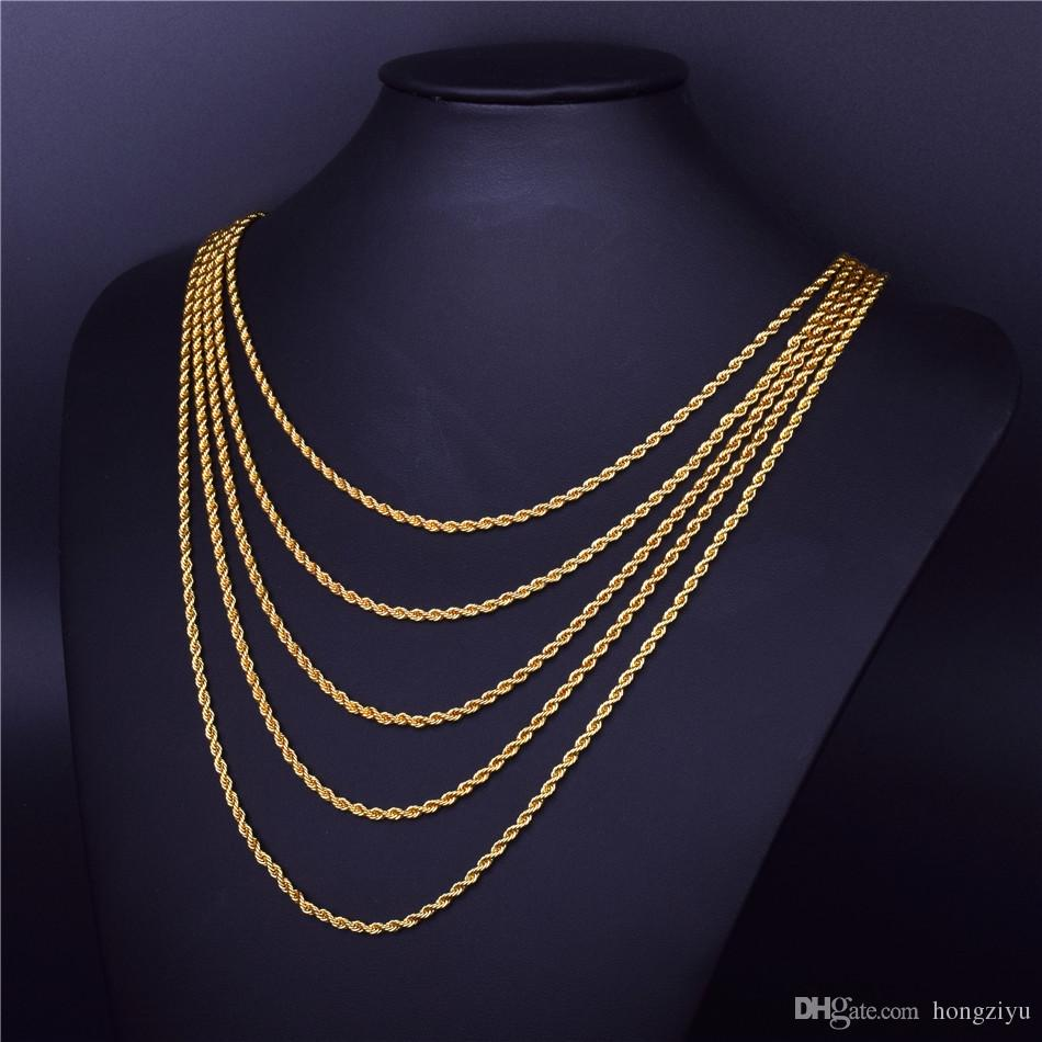 fa667c9e4faba 3mm Rope Chain 20 24 30 Gold Silver Color Men s Hip Hop Rapper s Stainless  steel Rope Link Necklace Hip hop Jewelry For Women