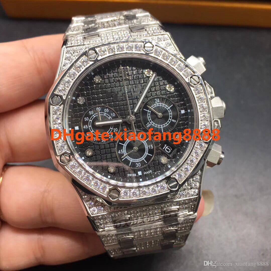 Grosshandel 42mm Voller Diamant Uhr Herren Luxus Diamant Stoppuhr Vk