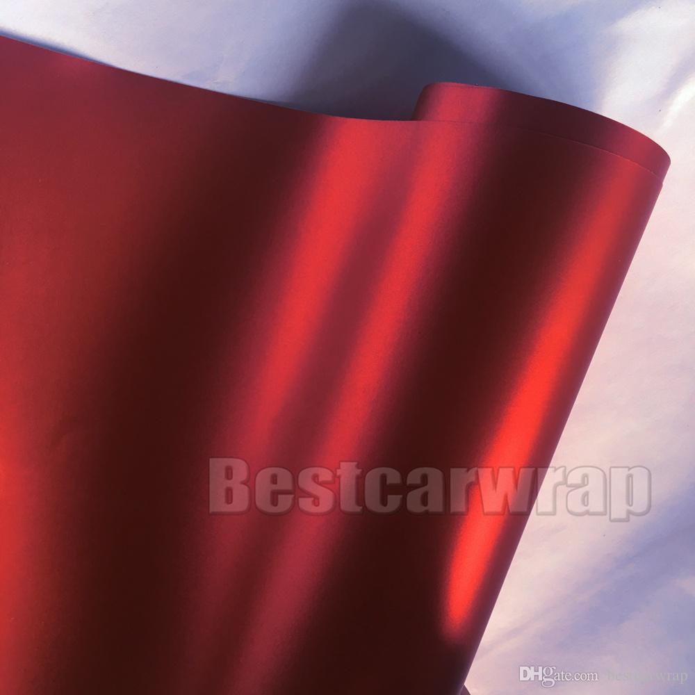 Röd Satin Chrome Vinyl för bilomslag med luftfrigöringsstorlek 1,52x20m / Roll 5x67ft