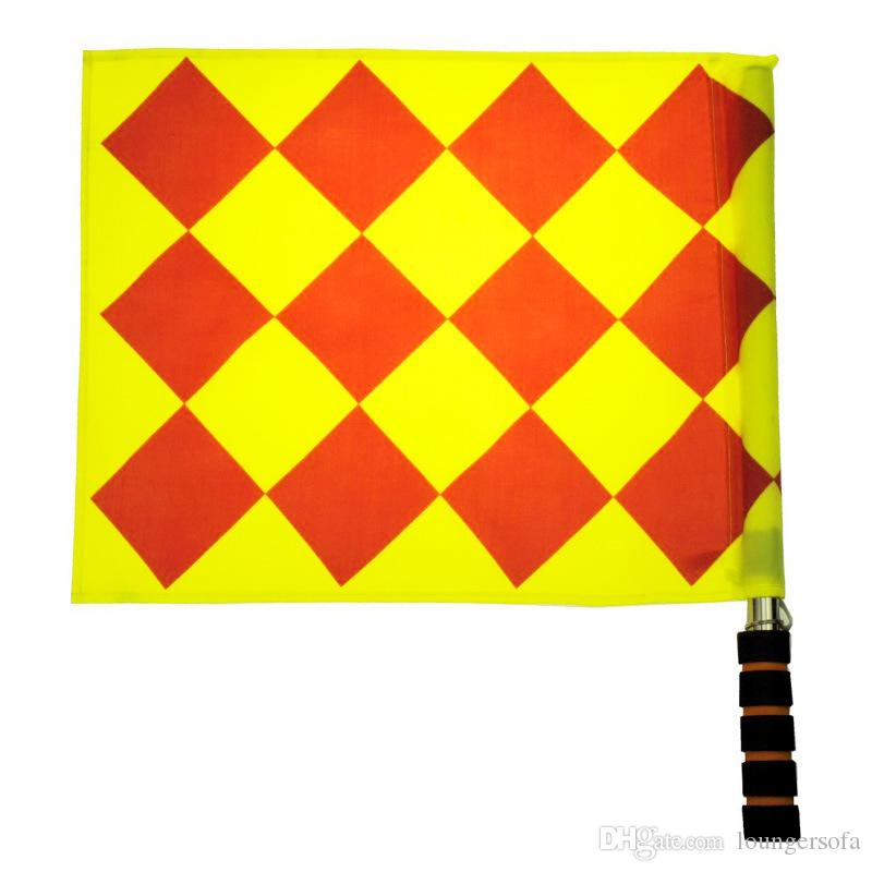 Stainless Steel Brightly Colored Soccer Referee Flag With Bag Football Judge Sideline Sports Match Linesman Flags 9zx W