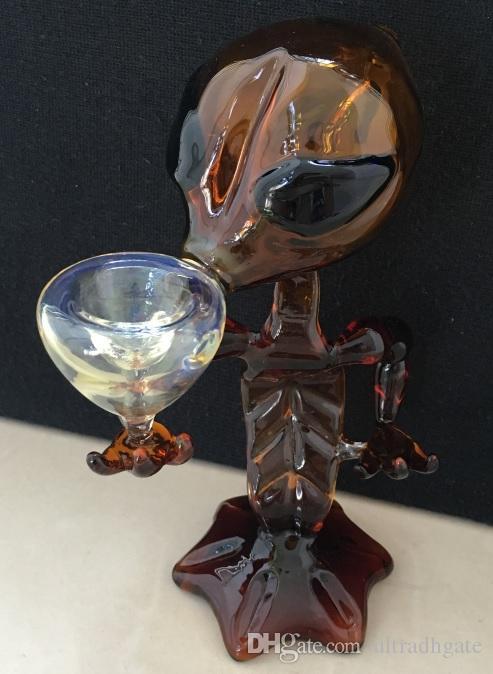 10 adet / grup Alien Cam Boru Cam Su Boruları 7 inç Yükseklik cam Sigara Borular Alien Bong Su