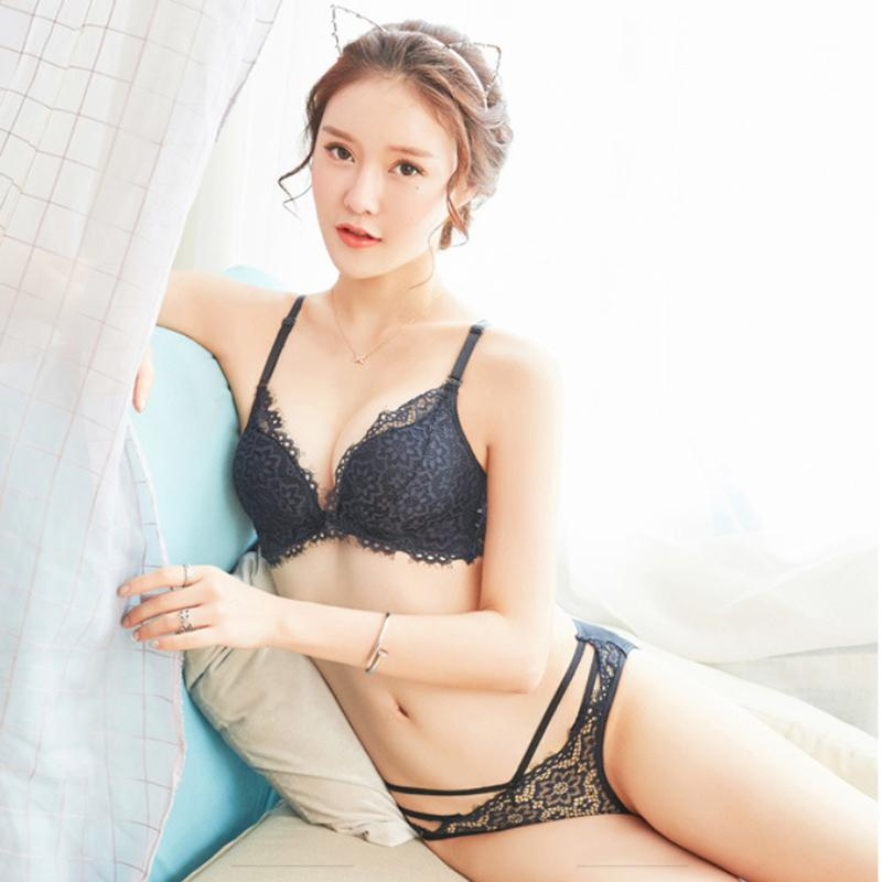 aa9a1e0e2c2 2019 MJNUOLA Sexy Transparent Black Red Bra Set Patchwork Lace Lingerie  Front Closure VS Push Up Bra Underwear Panty Women Sets From Redbud06