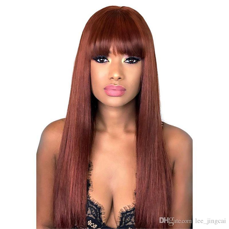 Full Lace Human Hair Wig Senior silk wig Silky Straight Full Lace Wigs Brazilian Virgin Hair 100% With Bangs For women Color 33 #