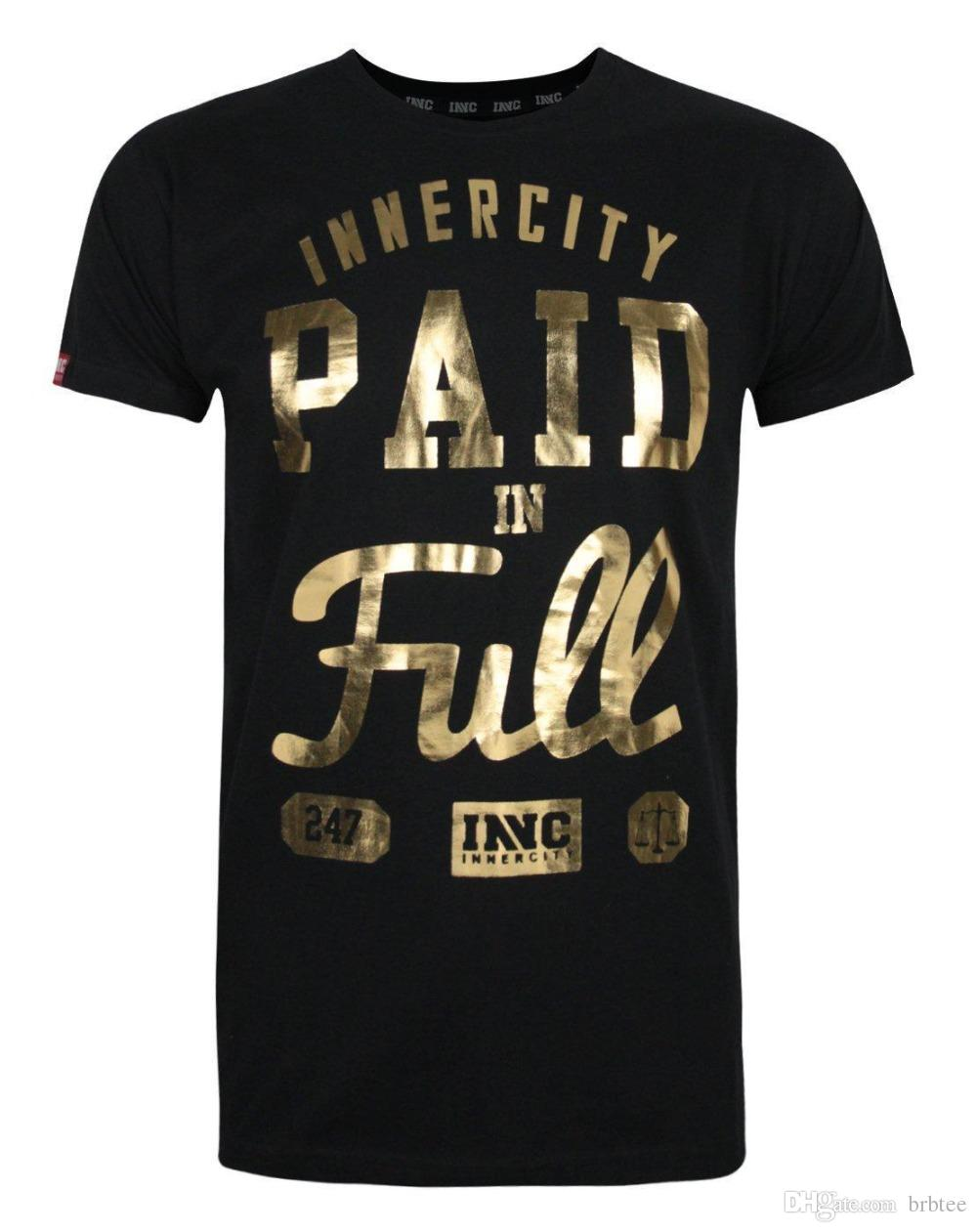 Fashion 2018 Summer Innercity Paid In Full Foil Print Mens T Shirt
