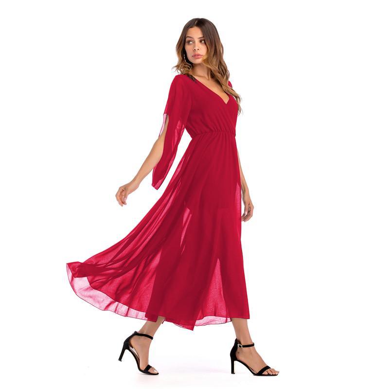 85b75c7584 2018 New Fashion Summer Women V-Neck Solid Chiffon Casual Beach ...