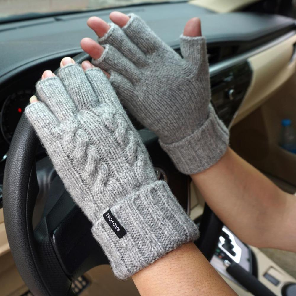 73530dc066b Men Fingerless Gloves Winter Mitten Male Wool Knitted Warm Flip Half ...