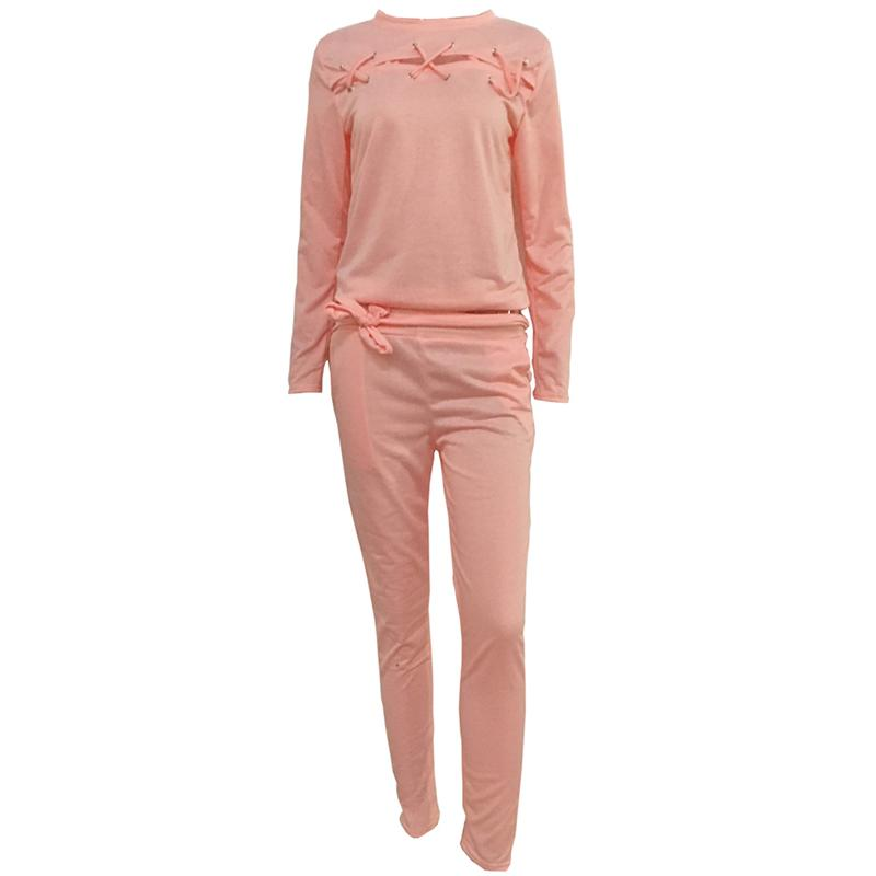 Pink Jogging Suits Mujeres Chándales 2018 New Sports Suit 2 Piezas Hollow Out Long Sleeved Sudaderas y Pantalones Sport Women's Suits