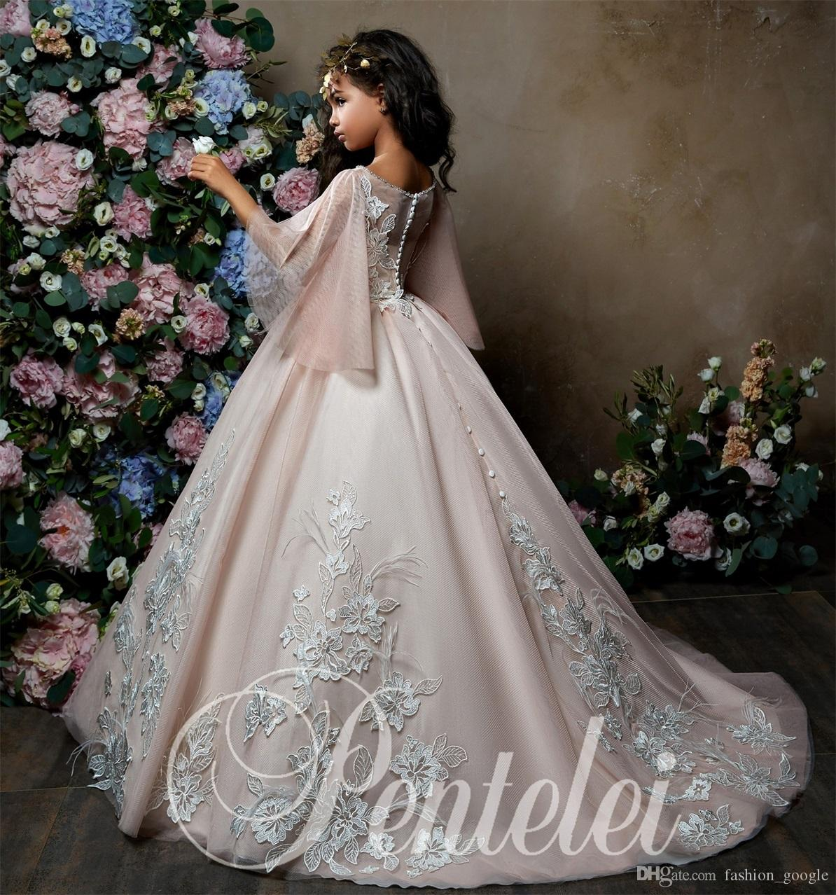 95d0c61f6 Princess Flower Girls Dresses 2018 Bell Sleeves Lace Appliques Ballgown  First Communion Dress For Little Girl Sweep Train Sashes For Flower Girl  Dresses ...