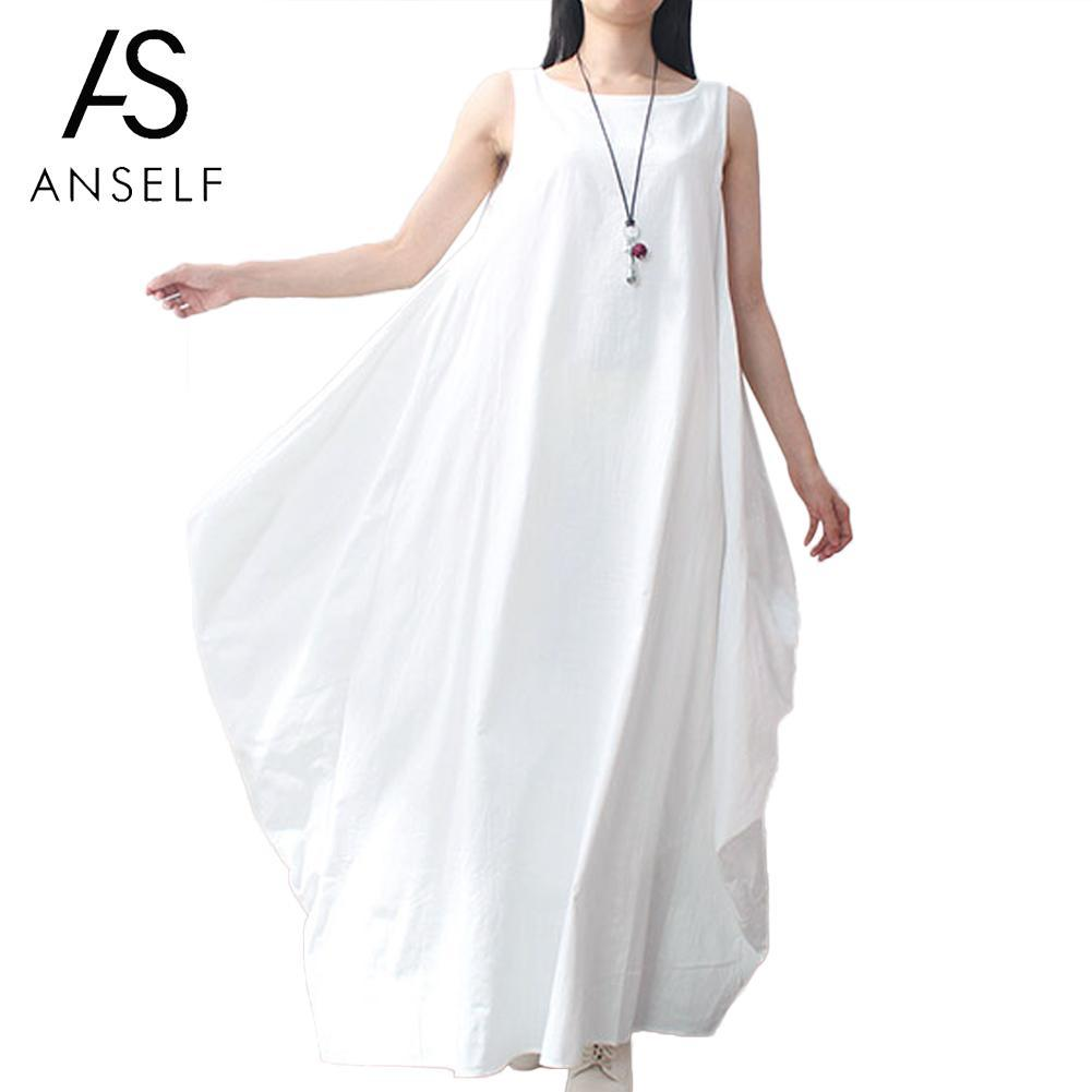 a1db20398d Anself Women Cotton Linen Dress Sleeveless 4XL 5XL Plus Size Maxi Long  Dress Pockets Solid Loose Summer Sundress White Red Black Cocktail Dress  Party Cute ...