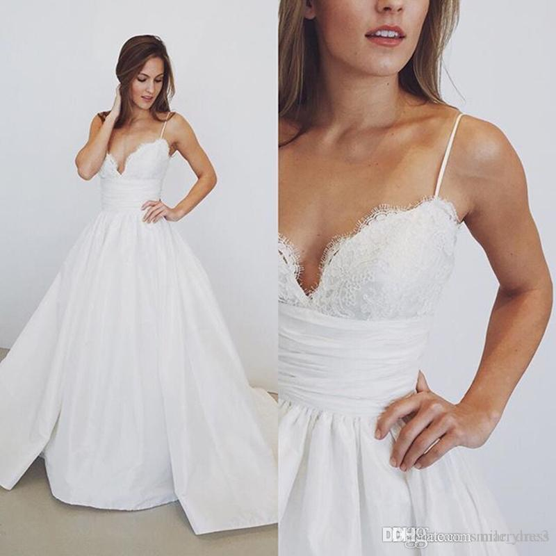 Lace Wedding Gown With Straps: Discount Spaghetti Straps Wedding Dresses Empire Waist