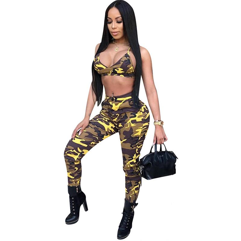 4367c7b2806c3 2019 Sexy Camo Two Piece Sets Women Summer Vacation Outfits Halter ...