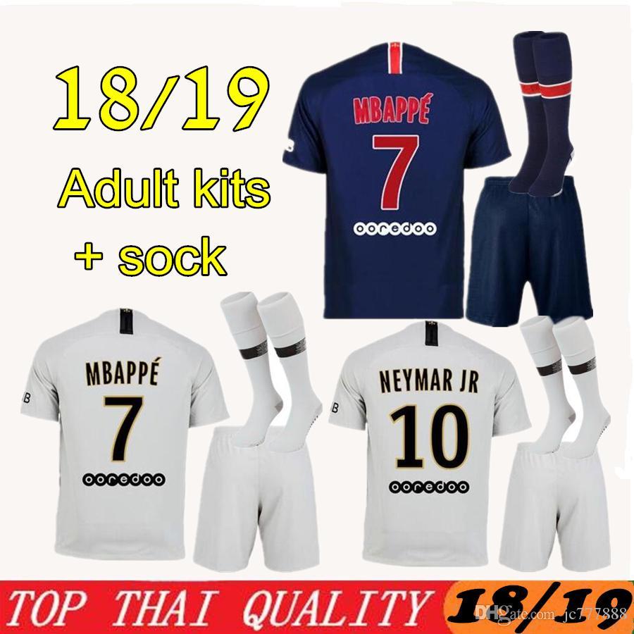 Conjunto De Camiseta De Fútbol PSG 18 19 MBAPPE 2018 2019 París CAVANI  Saint Germain DANI ALVES Maillot De Foot Kit Blanco De Fútbol Blanco Por  Jc777888 8fcd23a950df6