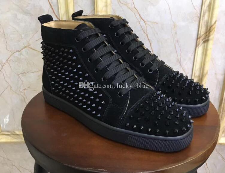 98f1caa9d5c6 Luxury Suede With Spikes Red Bottom Sneakers Party Wedding Shoes ...