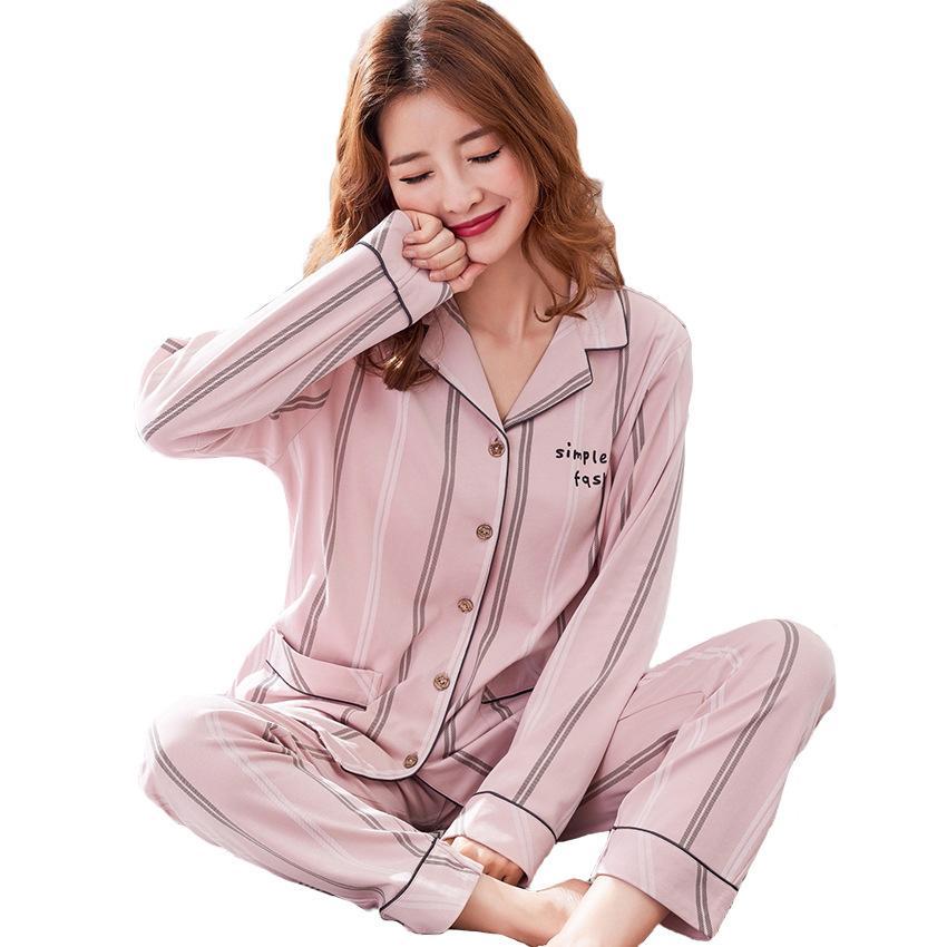 7c57575f3 Compre Plus Size Bonito Listras Conjuntos De Pijama Mulheres Sexy Sleepwear  Outono Inverno Pijama Algodão Mujer Pigiama Donna Pijamas Mulheres Terno Em  Casa ...