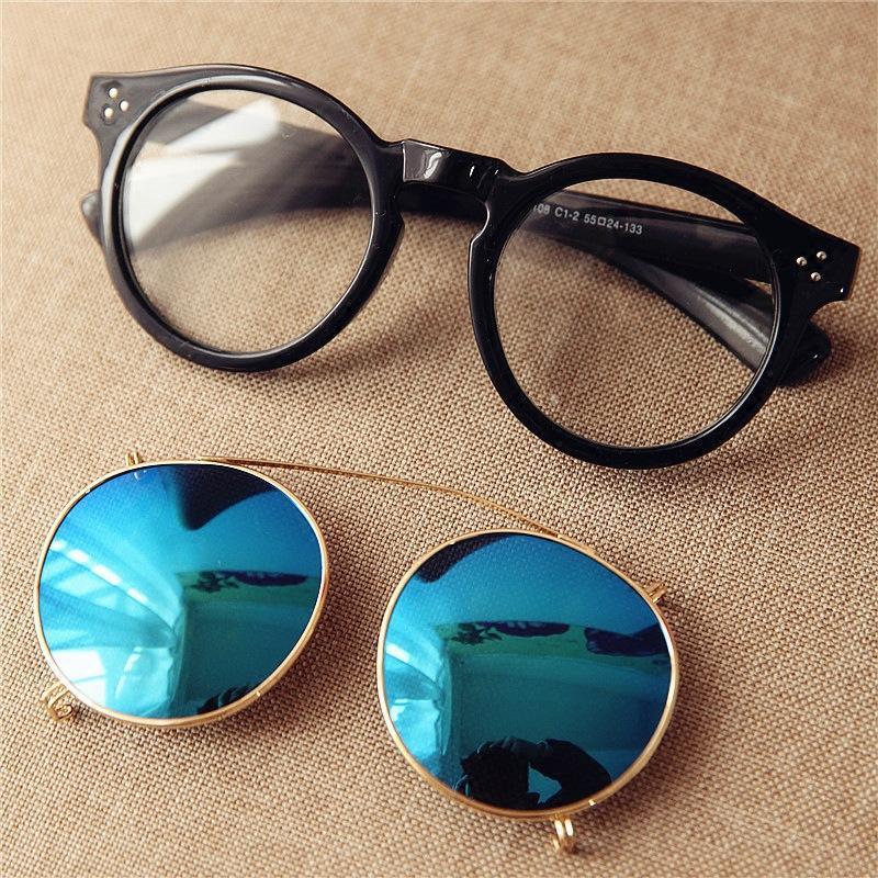 5f9fc314bf5fe Compre Cubojue Clipe Em Óculos De Sol Das Mulheres Dos Homens Espelhado Azul  Prata Vermelho Reflexivo Fit Sobre Óculos De Armação Rodada Do Punk Óculos  De ...