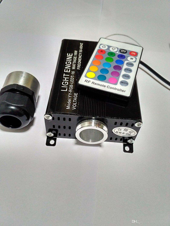 RGB colorful LED plastic Fiber Optic Star Ceiling Kit Light 0.75mm 2M+16W RGB optical fiber Lights Engine+24key Remote