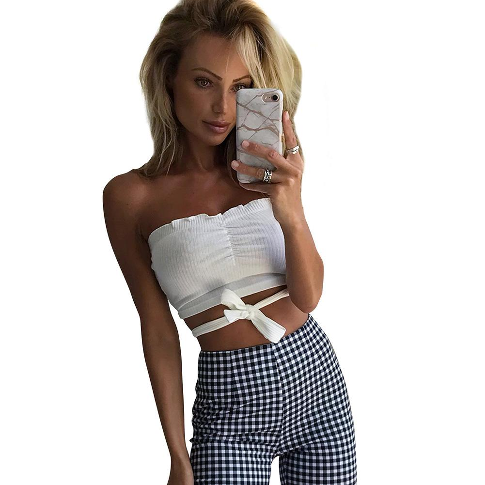 9701a5784294d 2019 Fashion Summer Women Off Shoulder Tank Top Solid Casual Ladies Sexy Crop  Tops Sleeveless Bandage Short Vest Shirts For Women New From Salom