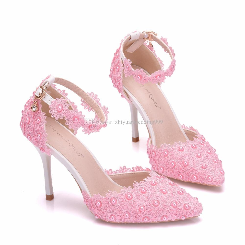 Wholesale Pink White Lace Wedding Bridal Shoes With Pearls Beaded