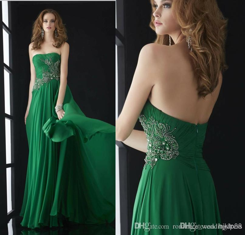 72caff0e208a Sumptuous Strapless Ruched Embroidery Beaded A Line Full Length 2018 Dresses  Evening Green Long Jasz Formal Prom Dresses Gowns Designer Dresses Dresses  For ...