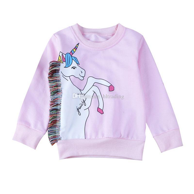 Kids unicorn Print Sweatshirt cartoon Cotton Boys Girls Tops Long sleeve t-shirts 2018 Spring Autumn Tees Kids Clothing C4310-1