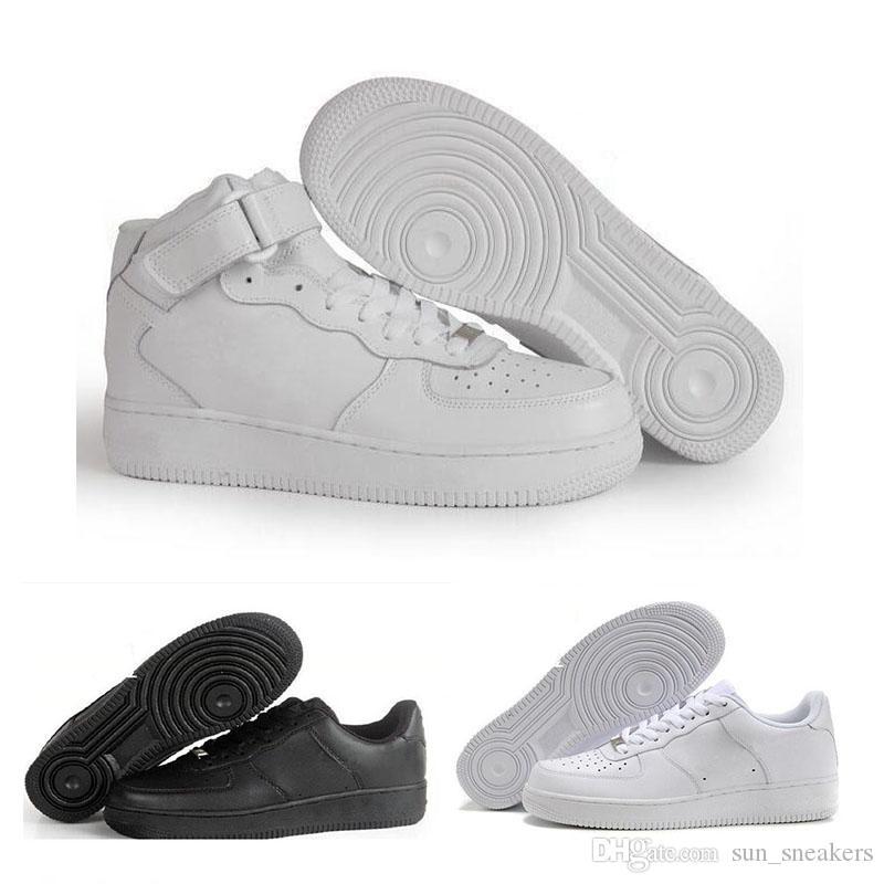 new arrival 623f4 fedef Acheter N03 2 2018 Nike Air Force 1 Leather Af1 Nouvelles Forces Formateurs  Hommes Femmes Low Cut Blanc Noir Casual Chaussures En Plein Air Un 1 Dunk  ...