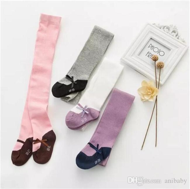 Baby Girls little lady pantyhose Toddlers cotton splicing color ribbon bow leggings for 6m-4T kids plain maryjane tights 3 sizesA08