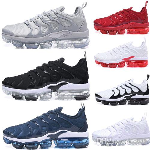 official photos 6d558 12baa Compre Nike Air Max Plus Vapormax Tn Plus 2018 Nuevos Hombres Vapormax Tn  Plus Olive In Metallic White Silver Colorways Pack Triple Negro Zapatillas  Zapatos ...