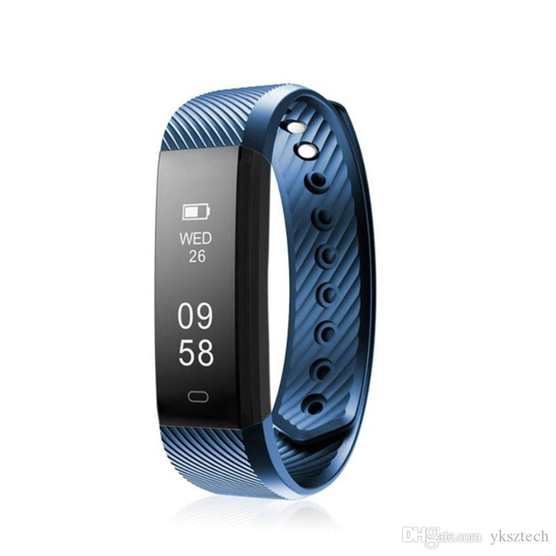 ID115 HR Smart Bracelet Fitness Tracker Step Counter Activity Monitor Band  Alarm Clock Vibration Wristband for iphone Android phone