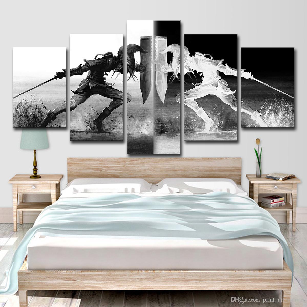 Moderne Wandkunst Leinwand Wohnzimmer Wohnkultur Modularen Bilder 5 Stücke  Legende Von Zelda Malerei Spiel Poster