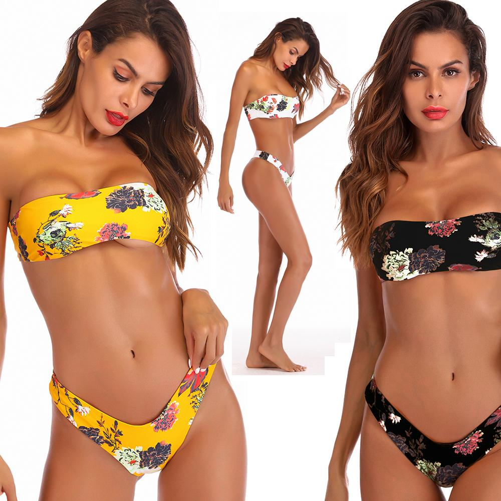 4973fe5c4f6a6 2019 Floral Print Twist Bandeau Bikini Set Bathing Suit Swimsuit Strapless  High Leg Thong Bikini Push Up Bikini Women Swimwear From Betop