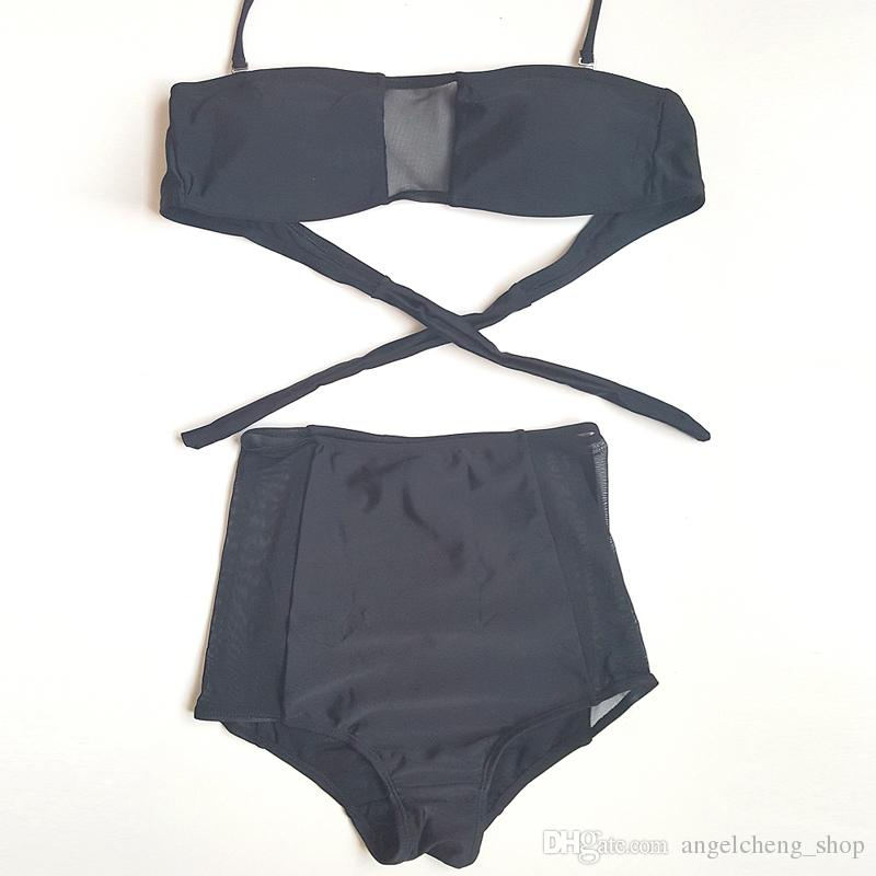 Women Fashion Black Sex Mesh Up Bikini Two-Piece Swimsuit Padded Bra Mesh Bathing Swimwear Beachwear DK44